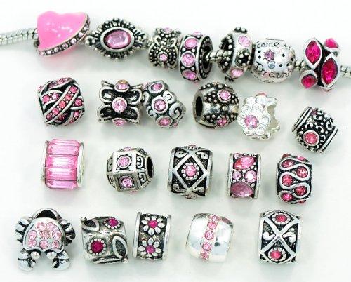 Ten (10) of Assorted Pink Crystal Rhinestone