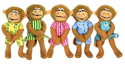 MerryMakers-Five-Little-Monkeys-Finger-Puppet-Playset-Set-of-5-5-inches-each
