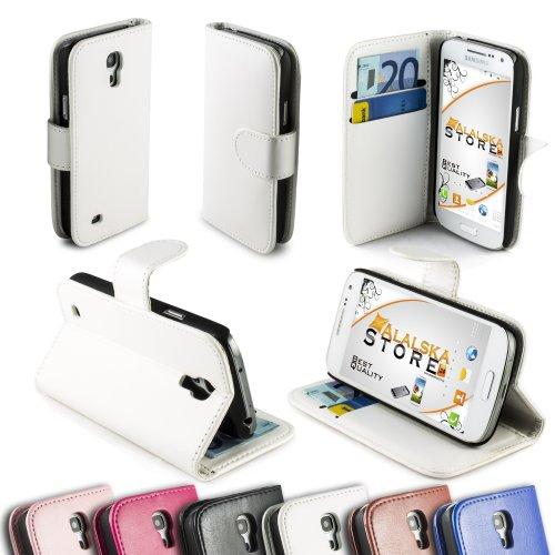Alaskaprint Flip Tasche Glanz Weiß für Samsung Galaxy S4 Mini i9190 i9195 G1, Etui dünn Cover , attraktive Rückschale mit Magnetverschluss, Kunstleder Schutzhülle Backcover Original alaskaprint Zubehör.