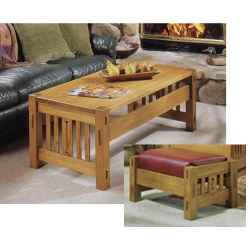 Arts and Crafts Coffee Table and Ottoman Mission Style: Downloadable Woodworking Plan