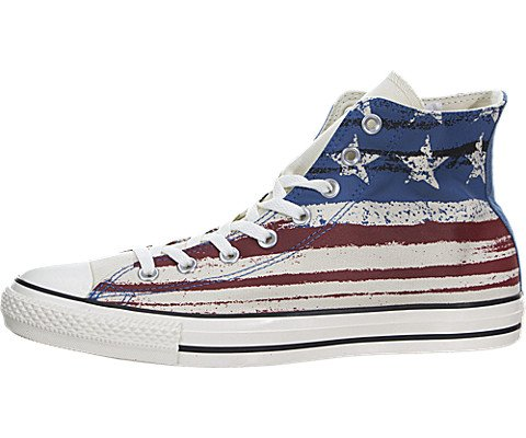 Converse Mens Chuck Taylor All Star US Flag Print Chili Paste/Atlantic/Egret Sneaker - 6 Men - 8 Women