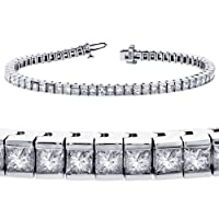 5.00 CT TW Channel Set 100% Natural Princess Cut Diamond Tennis Bracelet in 14k White Gold (F-G-color/VS2-SI1-clarity) by V.I.P. Jewelry Inc.