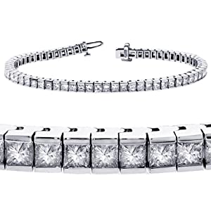 5.00 CT TW Channel Set 100% Natural Princess Cut Diamond Tennis Bracelet in 14k White Gold (F-G-color/VS2-SI1-clarity)