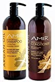 Amir Argan Oil Sulfate Free Shampoo & Argan Oil Conditioner Liter Duo (33.8 oz ea) with FREE Pumps! Best Price! Great Value! by Amir