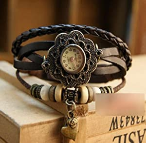 Towallmark 1PC Black Fashion Weave Heart Pendant Leather Bracelet Wrist Watch
