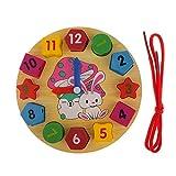 Juguetes Educativos Infantiles Forma del Reloj Aprendizaje de Enhebrar Colores Madera