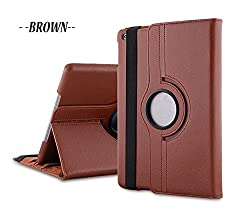 TGK 360 Degree Rotating Leather Case Cover Stand for iPad Mini Retina Display - Brown