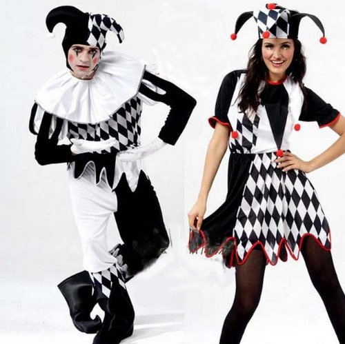 First cosplay glasses with 4 points set Joker clown costume and men women clown provisional wearing costume (white glove car × 1)