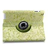 TOPCHANCES Modern Smart Cover Case for iPad mini with Auto Sleep/Wake Function and 360 Degree Rotating Stand- Green Emblossed Flower