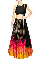 Fabron black, hot pink and yellow sequins embroidered lehenga set.