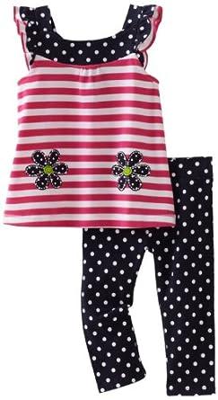 Hartstrings Little Girls' Toddler Flower Flutter Sleeve Tunic And Capri Legging 2 Piece Set, Pink Stripe, 2T