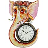 Swagger Multicolor Ganesha Wall Clock / Vintage Wall Clock / Unique Wall Clock / Wooden Wall Clock / Decorative...