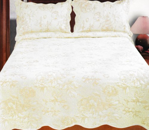 Couture Home Collection Super Fine Elegant Floral Embroidered White Quilt 3 Piece Set - 100% Cotton Fill - Twin - Gold (Twin) front-304806