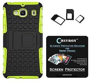 Chevron Tough Hybrid Armor Back Cover Case with Kickstand for XiaoMi RedMi 2 with HD Screen Guard & Multi Sim Adapter (Green)
