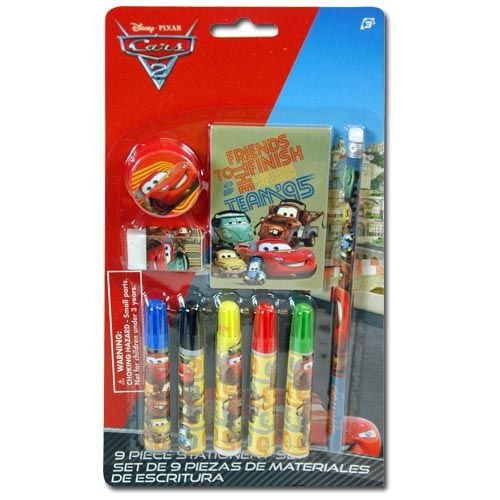 Disney Cars 9 Piece Personalized Study Kit/stationery Set, School Supplies with 1 Note Pad, 5 Markers, 1 Pencil, 1 Eraser & 1 Sharpener