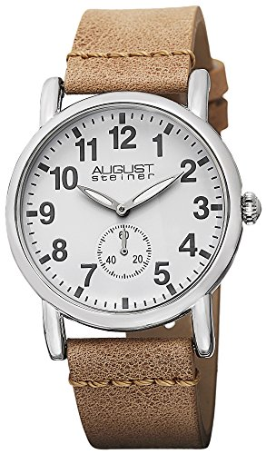August Steiner Women's Swiss Quartz Silver-tone Tan Leather Strap Watch