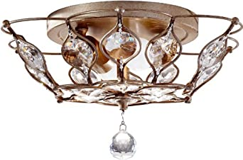 Murray Feiss FM374 Leila 2 Light Flush Mount Ceiling Fixture, Burnished Silver