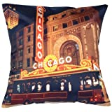 MeSleep Digital Print Wonderful Chicago City Cushion Cover - Multicolor