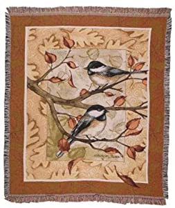 Autumn Leaves Chickadee Deluxe Woven Tapestry Throw Blanket