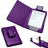 "Xtra-Funky Exclusive PU Leather Book Wallet Style Case for Amazon Kindle 4 (No Keyboard �69 Black or Silver 6"" E Ink Display Model) + Built in LED Reading Light (PURPLE)by Xtra-Funky"