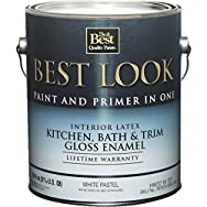Best Look Kitchen, Bath, And Trim Gloss Paint And Primer In One Enamel-GLS WHT/P