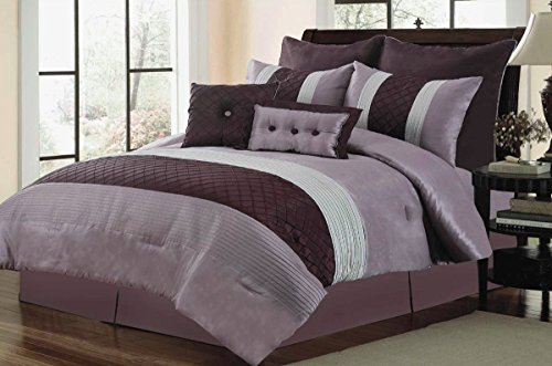 12Pc Tuscany Purple / Lavender Bedding Set front-1003558
