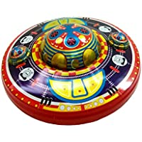 Funwood Games Collectible Vintage Mystery Flying Saucer Wind-Up Tin Toy For Kids & Collectors