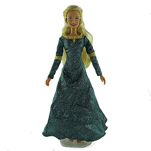 co2CREA(TM) Brand New Turquoise Fashion Gown Clothes Dresses Mini Cute Outfit for 29cm Barbie Doll (11 1/2 inch scale 1:6) Great Xmas gift for kids - 1