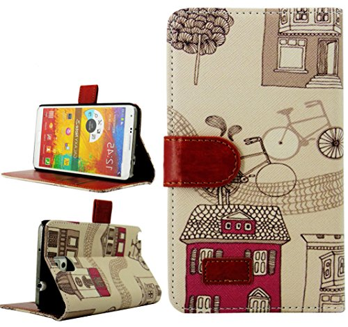 Mylife Pearl White And Red House {Boho Design} Faux Leather (Card, Cash And Id Holder + Magnetic Closing) Slim Wallet For Galaxy Note 3 Smartphone By Samsung (External Textured Synthetic Leather With Magnetic Clip + Internal Secure Snap In Closure Hard Ru