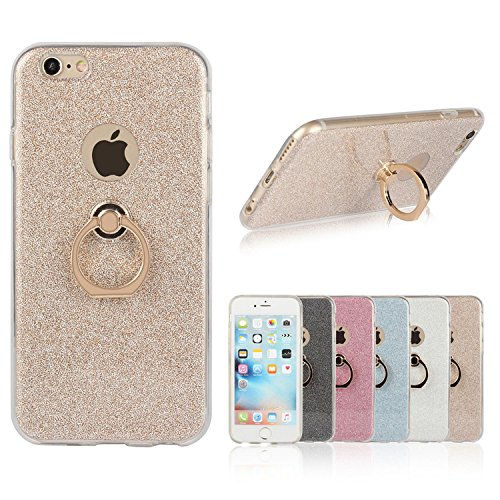 iPhone SE Case, 5S Case Ranrou TPU Soft Sparkle Powder Back Cover with 360 Degree Rotating Ring Stent for iPhone SE/5S/5 (Gold)