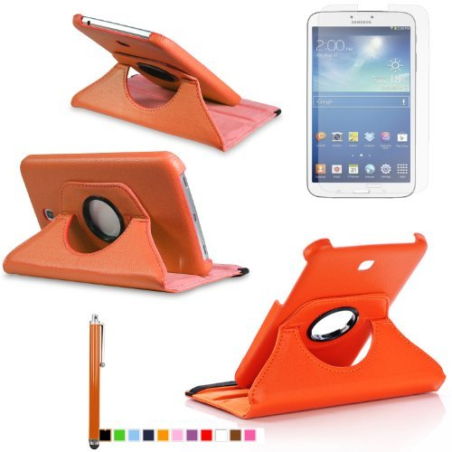 360 Degree Rotating Cover Case for Samsung Galaxy Tab 3 7.0 SM-T210 / SM-T217 With Screen Protector and Stylus Galaxy tab 3 7 case From Sheath TM [ Does not Fit Galaxy Tab 3 Lite SM-T110 ] (Orange)