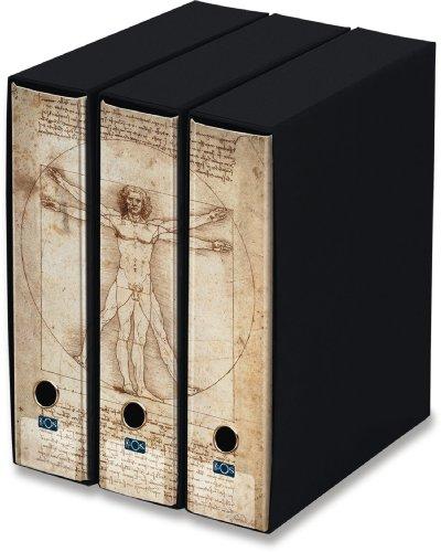 KAOS - Set da 3 raccoglitori ad anelli dorso 8 - UOMO DI VITRUVIO, LEONARDO - Misure Set: 26.8x35x29 cm