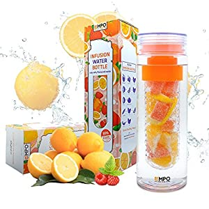 [New Release] EMPO® Fruit Infuser Water Bottle 750ml/27oz (BPA Free Tritan) - LIFETIME WARRANTY - Free Recipe eBook - Gift Wrap Available (Orange)