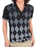 【2パターン3カラー】ライン入りアーガイル半袖鹿の子ポロシャツ