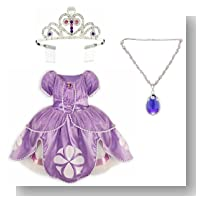Disney Store Sofia the First Costume Set with Dress (Size Small 5/6), Light-Up Amulet of Avalor Necklace and Tiara Crown