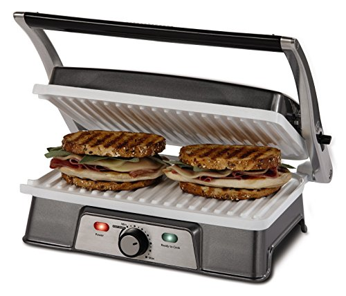Oster CKSTPM21WC-ECO DuraCeramic 2-in-1 Panini Maker and Grill, White (Oster Duraceramic Panini Maker compare prices)