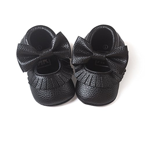 LIVEBOX Infant Baby Girls' Premium Soft Sole Mary Jane with Bow Prewalker Toddler Shoes(S: 0~6 months,Tassels-Black)