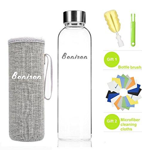 BONISON Stylish High-quality Borosilicate Glass Water Bottle with Colorful Nylon Sleeve (18oz) (GREY)