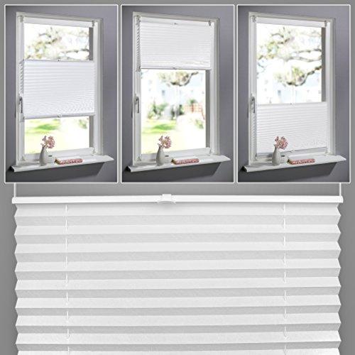 SHINY HOME® 60x130cm Pieghe Tende romane Rollo Shades opache tende plissettate montaggio sul telaio della finestra Oscuranti per Salotto Casa moderne -Bianco