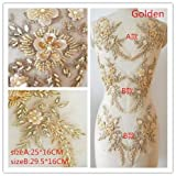 Hand Beaded Flower Sequence 3D Lace Applique Motif Sold by 3 Pairs Great for DIY Decorated Craft Sewing Costume Evening Bridal Top A6 (Gold) (Color: Gold)