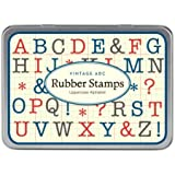 Cavallini Mini Uppercase Alphabet 30 Assorted Wooden Rubber Stamps Packaged in a Tin