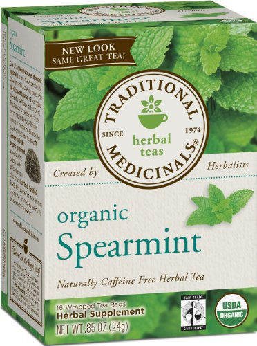 Traditional Medicinals Organic Fair Trade Certified Spearmint Herbal Tea, 16-Count Wrapped Tea Bags (Pack of 6) Image