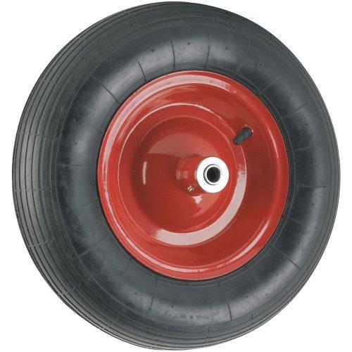 Waxman 4383955 16 Inch Pneumatic Wheelbarrow Wheel, Black Tire And Red Rim front-582125