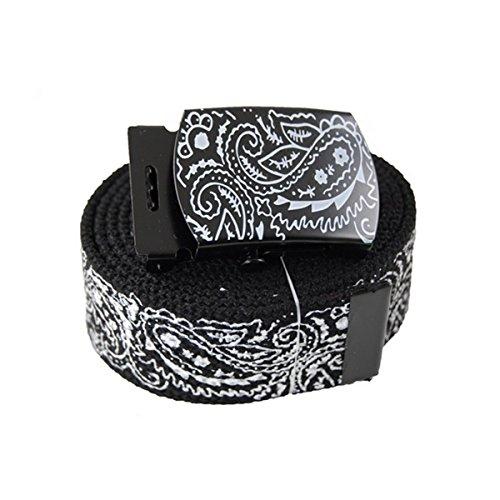 "Canvas Military ""Black"" Bandana Pattern Web Belt & Buckle 60 inches"