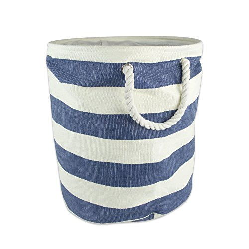 DII Woven Paper Textured Storage Basket, Collapsible & Convenient Storage Solution for Office, Bedroom, Closet, Toys, Laundry - Large Round, Nautical Blue Stripe (Laundry Large Basket compare prices)
