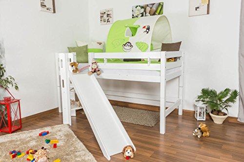 Lit pour enfant / Lit en mezzanine Samuel en hêtre massif peint en blanc avec diapositive, sommier à lattes déroulable inclus - 90 x 200 cm