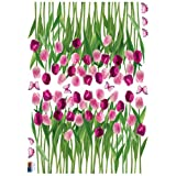 (20x28) Tulips and Butterflies Purple Pink Repositional Wall Decal