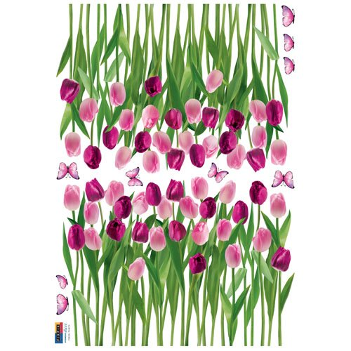 Reusable Decoration Wall Sticker Decal - Tulips and Butterflies Purple Pink