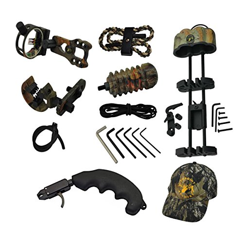 Huntingdoor-Camo-Upgrade-Compound-Bow-Accessories-Kit5-Pin-Bow-SightArrow-RestBow-Stabilizer5-Arrow-Bow-QuiverBraided-Bow-SlingPeep-SightThumb-Bow-Relase-KitsHat