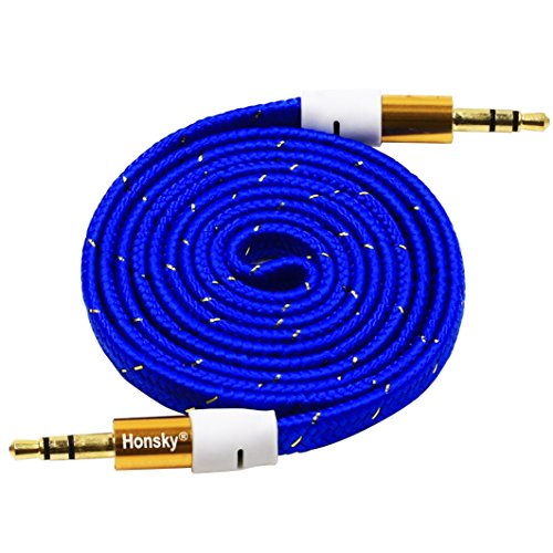 Honsky - Grade A Braided 3FT/1M 3.5mm Male to Male Gold Plate Car Aux Audio Cord - 3.5mm Flat Noodle Braided Design Audio Cable - Blue (Blue Aux Cord compare prices)